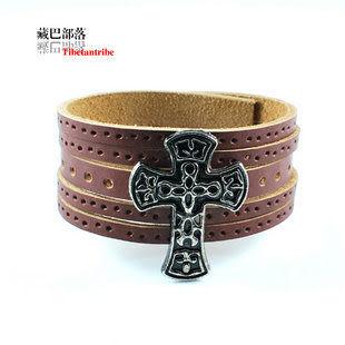 頭層牛皮金屬十字架五股寬皮手鏈