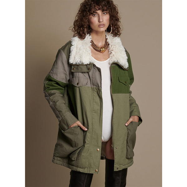 ONETEASPOON W KHAKI DEFENDER COAT 毛領大衣-女(綠)