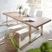 會議桌 loft北歐實木會議桌長桌簡約現代餐桌家用接待洽談桌辦公桌椅組合 町目家