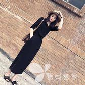 赫本長裙2018春裝新款女裝韓版黑色開叉長裙氣質收腰顯瘦連身裙女