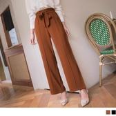 《BA5276》純色剪接設計蝴蝶結腰綁帶小落地直筒褲 OrangeBear