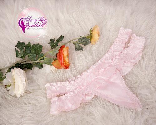 星光密碼【J187】粉紅荷葉深V柔緞二件式睡衣露背性感睡衣