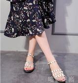 羅馬涼鞋 新款歐美黑色鉚釘羅馬平跟夾趾平底涼鞋女夏夾腳韓國百搭學生 唯伊時尚