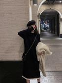 赫本風小黑裙女秋冬新款法式溫柔風毛衣裙過膝內搭針織連身裙長款