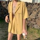 西裝兩件套 夏季時尚套裝女薄款短袖西裝外套寬管短褲兩件套-Ballet朵朵
