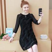 中大尺碼M-5XL大碼女裝秋裝植絨網紗拼接連衣裙圓領七分袖打底裙5F025.305.1號公館