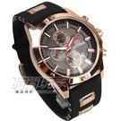 MINI FOCUS 真三眼大錶徑計時手錶 男錶 日期顯示 學生錶 防水手錶 橡膠 黑x玫瑰金 MF0089玫黑