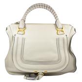 【展示全新 優惠價】CHLOE Chloe Marcie Bag 時尚質感皮革雙把肩背包.米白(大)