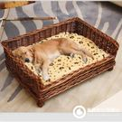 柳藤編狗窩狗床大中小型夏季可拆洗貓窩泰迪比熊金毛犬待產寵物窩