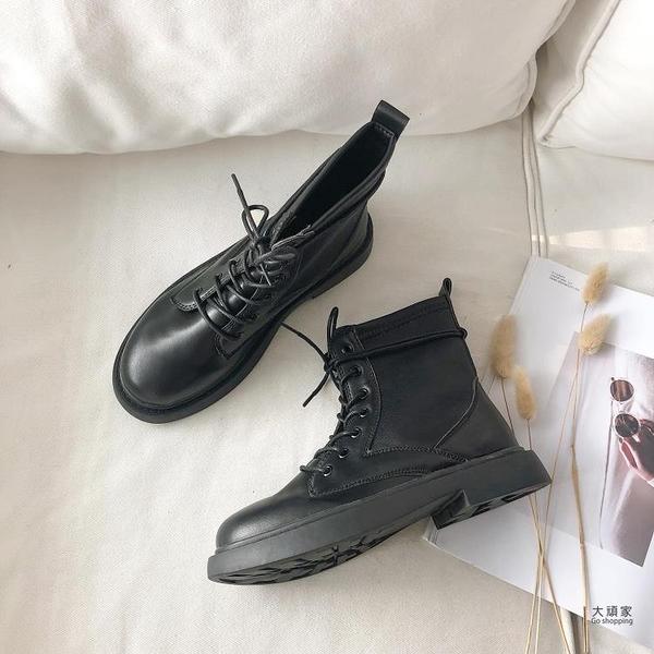 馬丁靴 網紅加絨厚底馬丁靴女冬新款英倫風ins潮瘦瘦靴復古黑色短靴 限時優惠