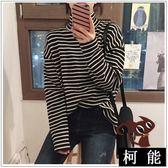 T恤【8232】春季潮 寬鬆顯瘦 百搭條紋 T恤女 長袖高領 打底衫