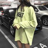 棉麻上衣外套  秋裝韓版字母印花寬鬆休閒長袖衛衣學院風時尚中長款上衣女    都市時尚