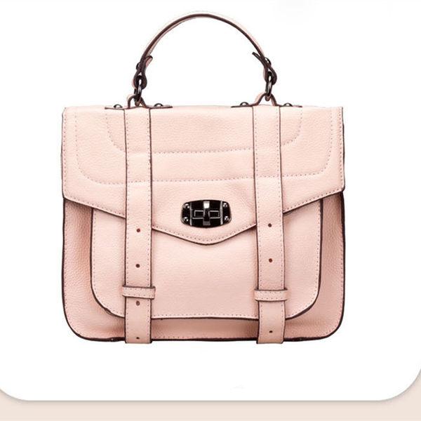【O-ni O-ni】真皮新款郵差手提包女士豎款方型側肩包HLY-8631-粉色