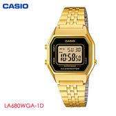 CASIO 熱銷復古小金錶 黑框 28mm 金色方形數位鋼帶電子錶 LA680WGA-1D 學生錶 公司貨   名人鐘錶