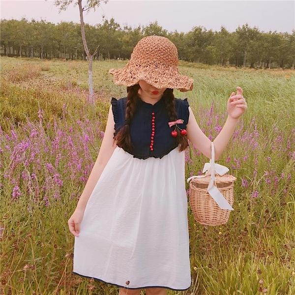 [超豐國際]夏季少女中長款無袖連衣裙顯瘦小清新拼色娃娃裙(1入)