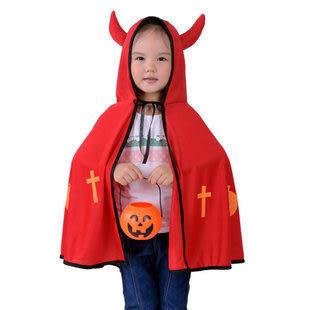 萬聖節兒童舞會演出服裝 牛角惡魔披肩披風+南瓜桶200g