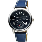 agnes b. Journey 新世界航海小秒針套錶-黑x藍/39mm VD73-KV10A(BW2003X1)