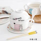 陶瓷泡麵碗帶蓋家用筷勺套裝  百姓公館