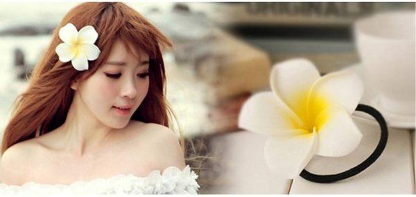 [協貿國際]  大號新娘伴娘頭花雞蛋花髮夾邊夾 (6個價)