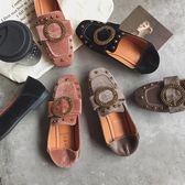 85折2018春季新款豆豆鞋平底鉚釘蝴蝶結樂福鞋開學季
