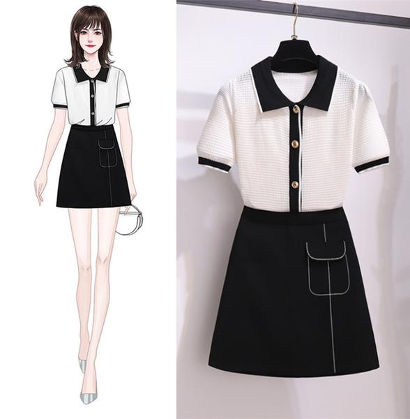 超殺29折 韓國風針織毛衫上衣半身短裙套裝短袖裙裝