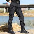 工裝褲黑色作訓褲休閒網格男軍迷迷彩褲保安工作褲工裝多口袋作訓褲寬 快速出貨