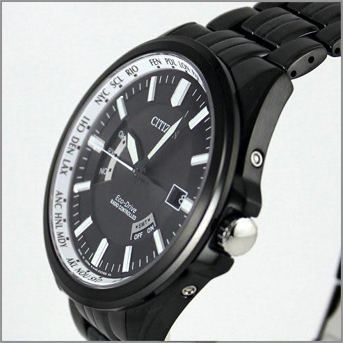 【萬年鐘錶】CITIZEN電波時計/光動能 全黑 CB0014-52E