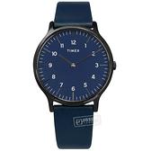 TIMEX 天美時 / TXTW2T66200 / 復刻系列 數字刻度 超薄 礦石強化玻璃 真皮手錶 藍x黑框 40mm