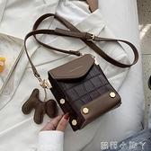 ins復古小包包女2020流行新款潮時尚鱷魚紋斜挎包百搭單肩手機包 蘿莉新品