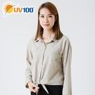 UV100 防曬 抗UV-條紋綁帶襯衫-女