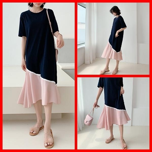洋裝 韓系春夏氣質寬鬆休閒拼接雪紡下擺短袖連身長裙 共1色 L-3XL 依米迦