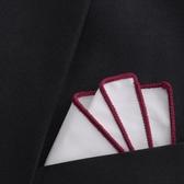 全棉白色彩邊口袋巾西裝配飾