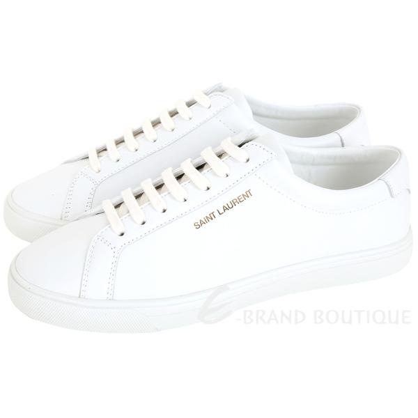 YSL Saint Laurent Andy 燙金字母繫帶滑板鞋(女款/白色) 1840572-20