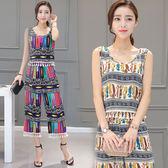夏季新品女裝正韓民族風套裝流蘇無袖上衣休閒闊腿褲兩件套女 限時八五折