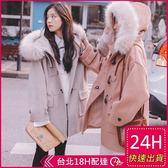 免運★梨卡 - 甜美氣質牛角扣毛領中長版防風保暖30%羊毛呢立領外套風衣長大衣AR116