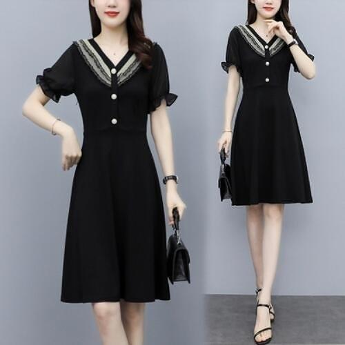 洋裝小黑裙V領中大尺碼L-5XL胖mm氣質減齡修身洋氣連身裙NB30B-9527.韓依紡