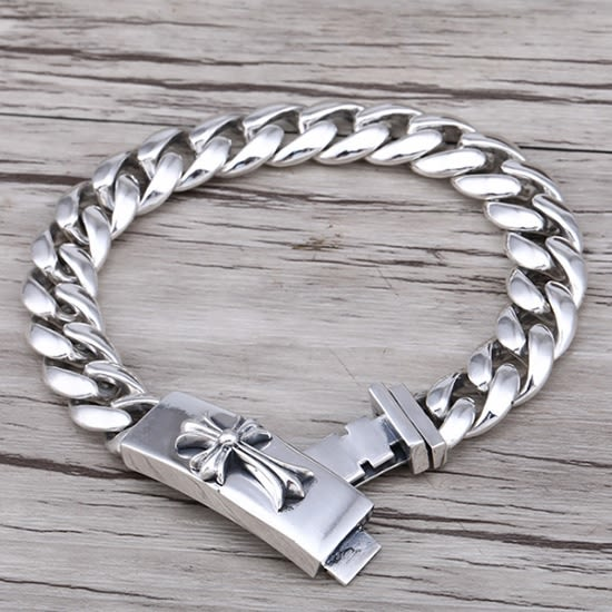 《 QBOX 》FASHION 飾品【SB00357】精緻個性克羅心十字架素面環扣S925純銀手鍊/泰銀手環