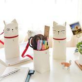 韓國可愛小清新帆布卡通筆袋 創意學生大容量女生簡約貓咪文具盒    電購3C