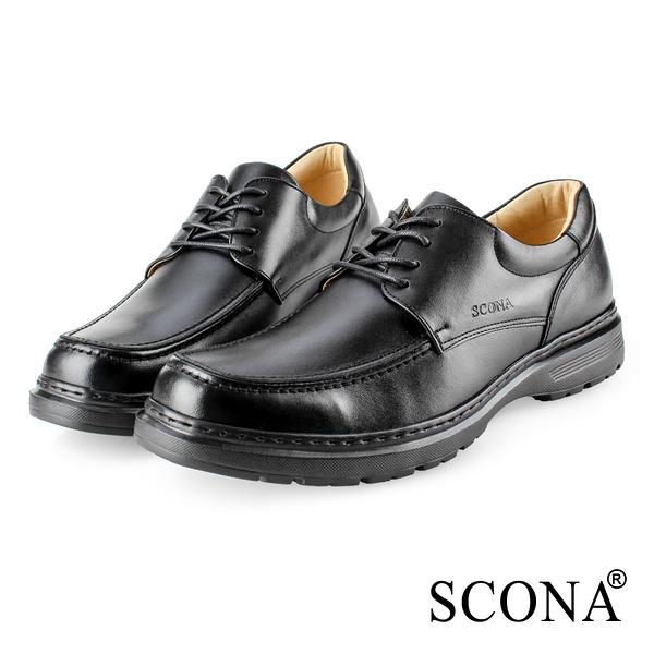 SCONA 蘇格南 全真皮 都會輕量綁帶商務鞋 黑色 0862-1