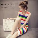 【QV1056】魔衣子-彩色條紋修身無袖背心連身裙
