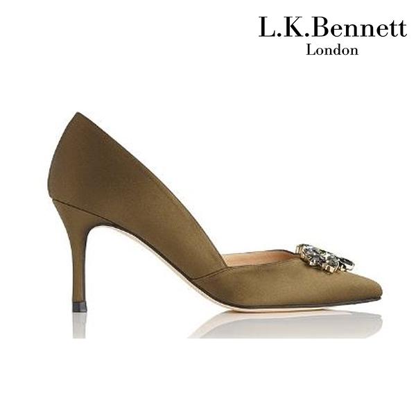【L.K. BENNETT】凱特王妃摯愛 必搭鞋類 CRISTINA寶石緞面高跟鞋-墨綠 (原廠公司貨)