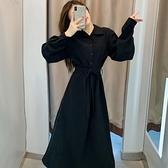 襯衫裙 黑色秋冬連衣裙女新款長袖洋氣polo領氣質收腰小個子中長款潮 夢藝