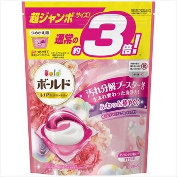 【日本製】【P&G】Bold 3倍超大容量洗衣凝膠球3D立體 膠囊 洗衣精 補充包 46顆入 牡丹花香(一組:8