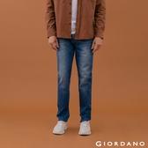 【GIORDANO】男裝超彈力窄管牛仔褲 - 82 中藍