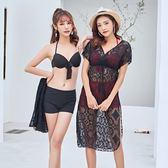 泳衣(三件套)-性感蕾絲罩衫時尚女比基尼2色73rz48[時尚巴黎]