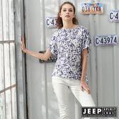【JEEP】女裝清新花卉短袖襯衫-藍色
