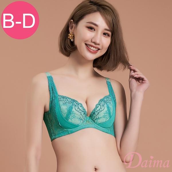 台灣製/MIT (B、C、D)提托集中機能調整型蕾絲內衣。綻放花漾_清綠色【Daima黛瑪】