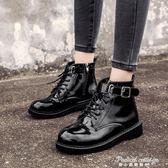 新款女短靴英倫風馬丁靴韓版百搭女靴粗跟中跟側拉錬騎士靴·蒂小屋