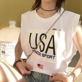 [超豐國際]夏季女裝百搭字母貼布無袖圓領T恤女寬松破洞背心打1入