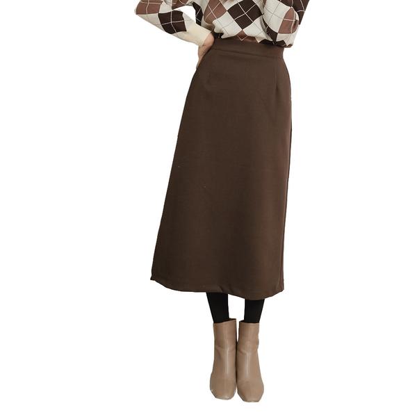東京著衣【KODZ】休閒自在腰鬆緊下擺側開岔磨毛長裙-M.L(191869)